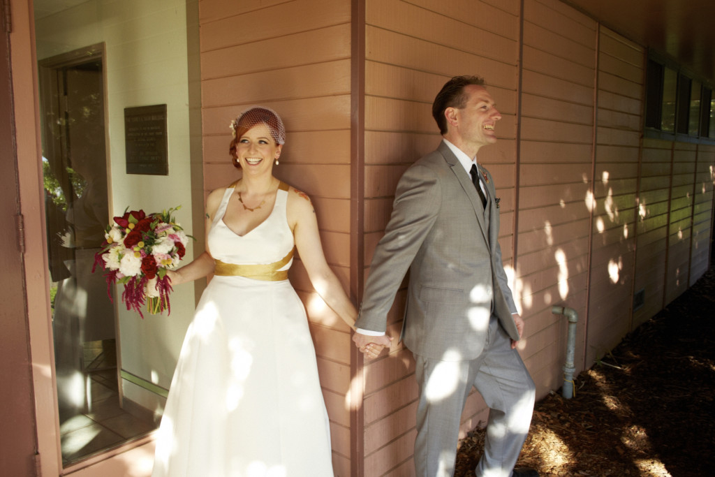Holding hands around the corner, but not seeing each other before the ceremony.