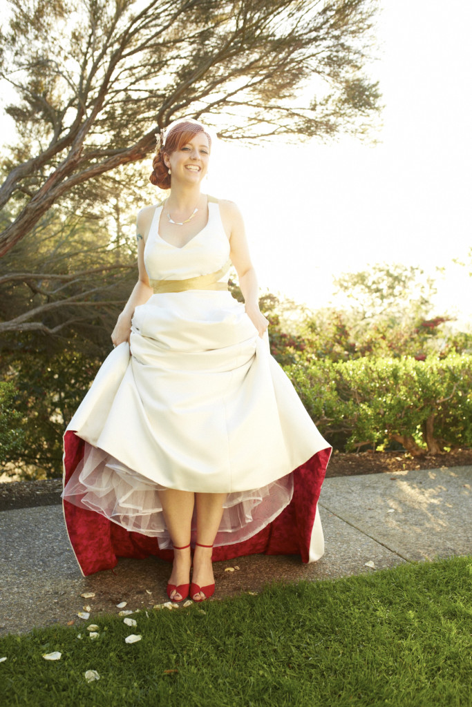 A lovely red lining on the wedding dress