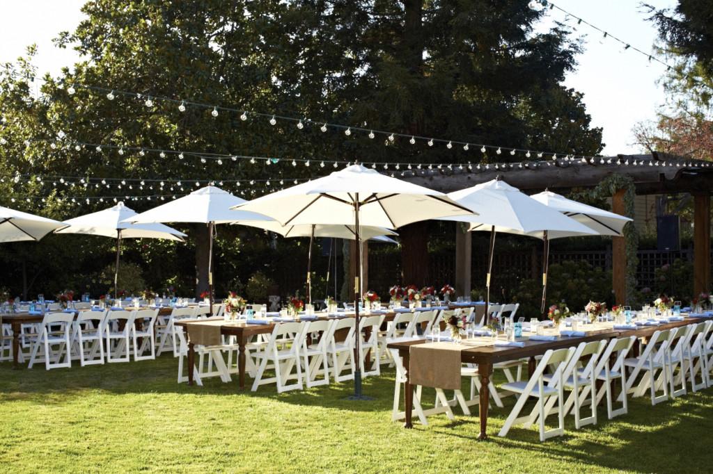 Umbrellas over the garden tables