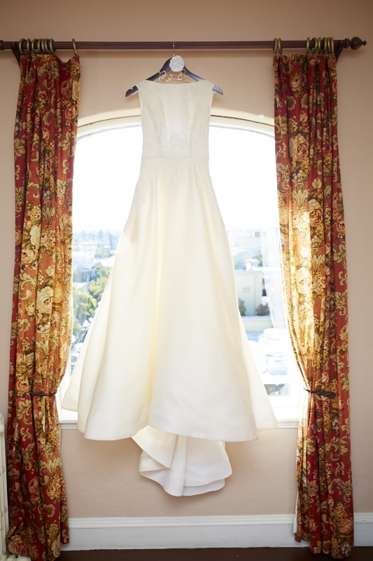 The wedding dress with bonus 'Bride' hanger.