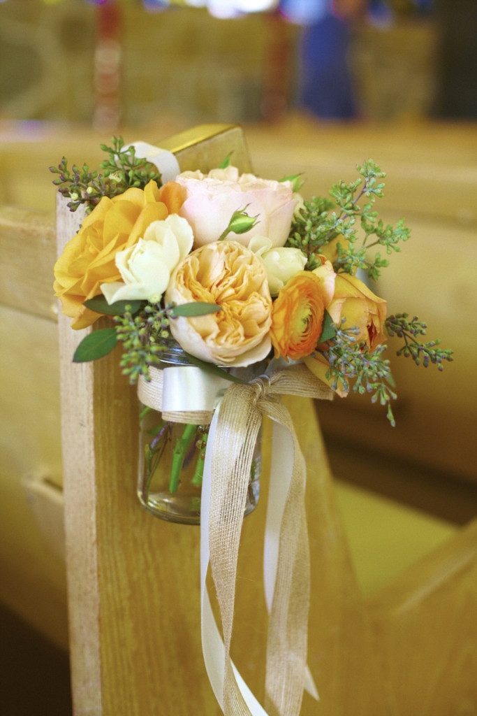 Floral decorations for the church aisles