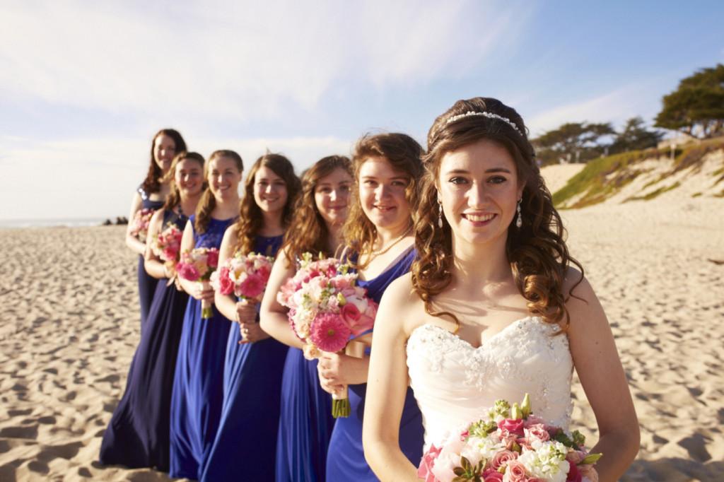 Bridesmaids lining up