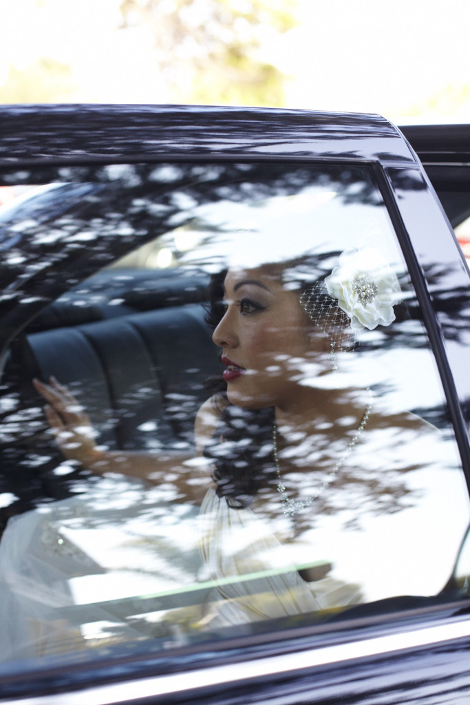 The bride arrives in the limo