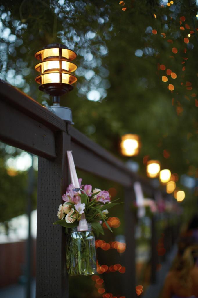 Floral arrangements and lights