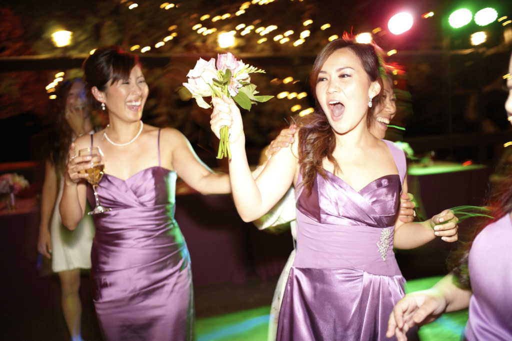 The lucky bridesmaid who caught the bouquet