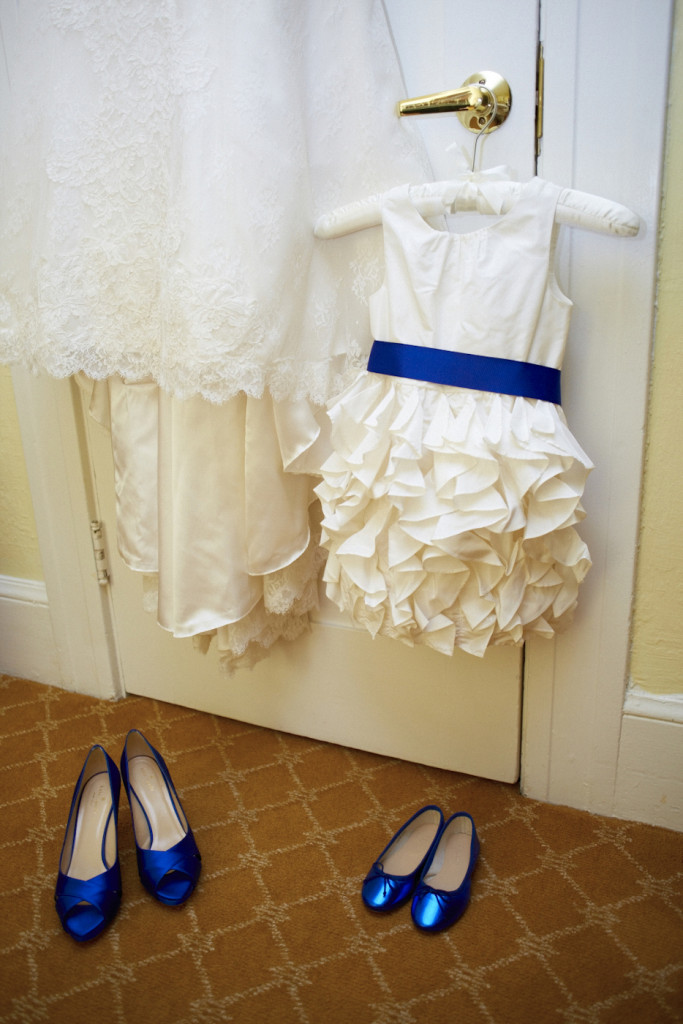 Matching shoes for the bride and the flower girl.