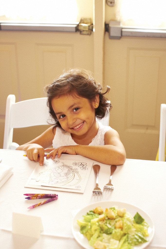 Keeping the flower girl entertained with some coloring books