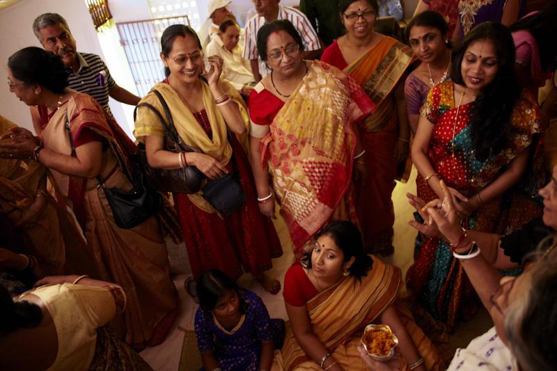 Aunts and cousins surround the bride
