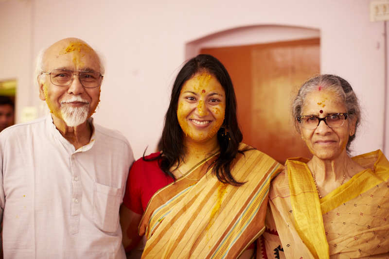 The bride with her parents.