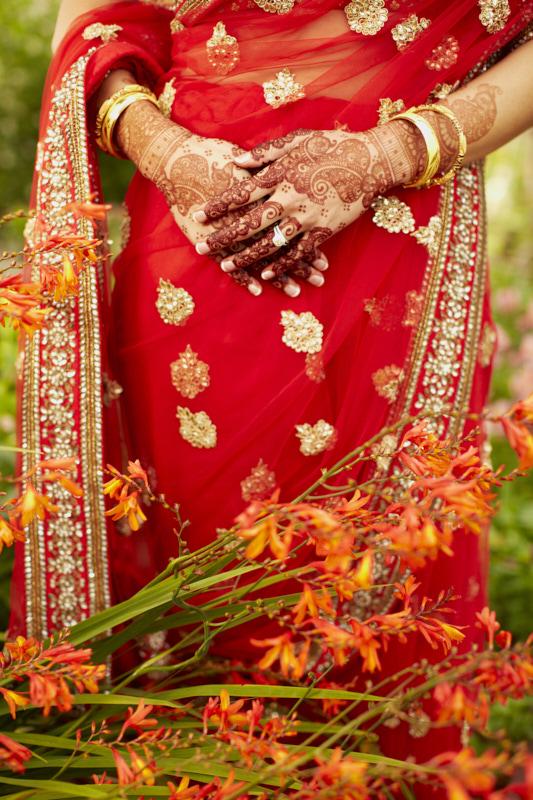 Sari and Mehendi
