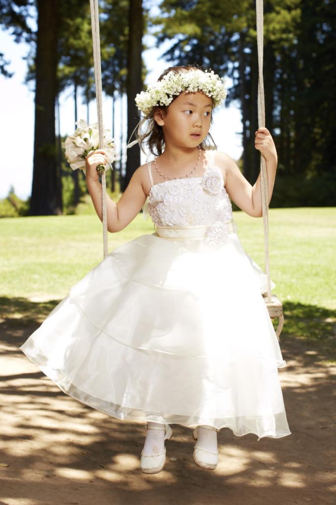 The flower girl on the swing