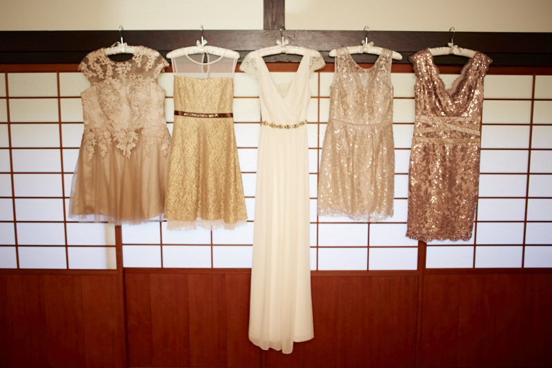 Wedding dress and bridal party dresses.