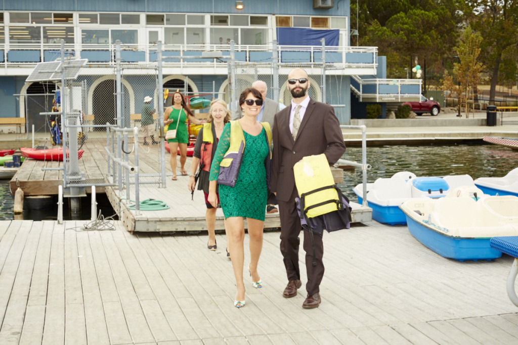 Guests arrive for a Lake Merrit cruise. Sadly there were no formal life vest options.
