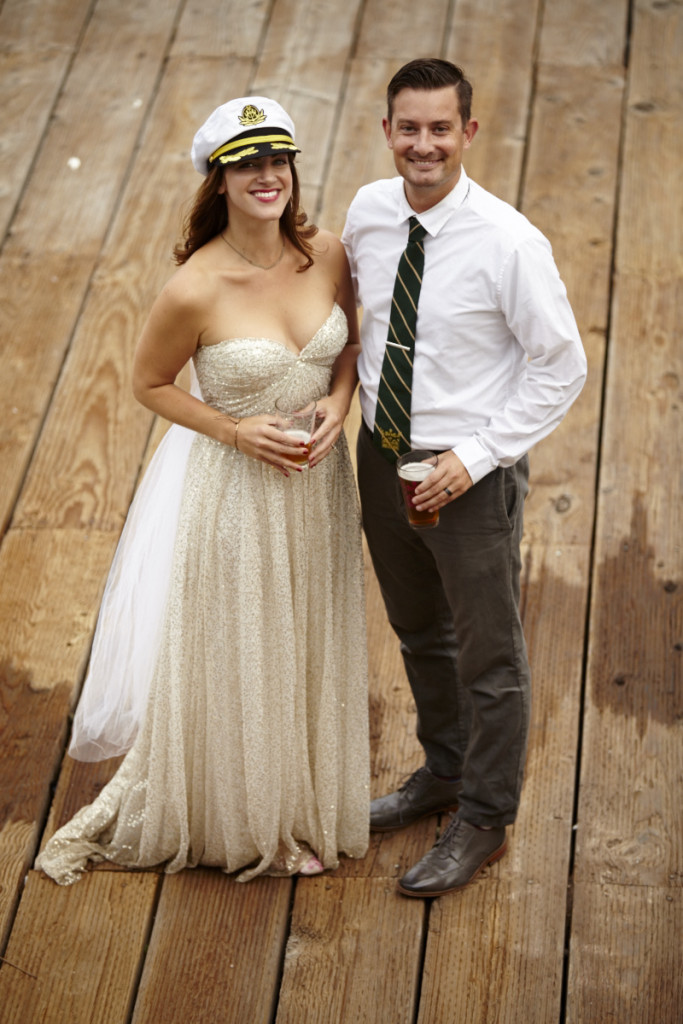 The Bride and Groom on the boat dock
