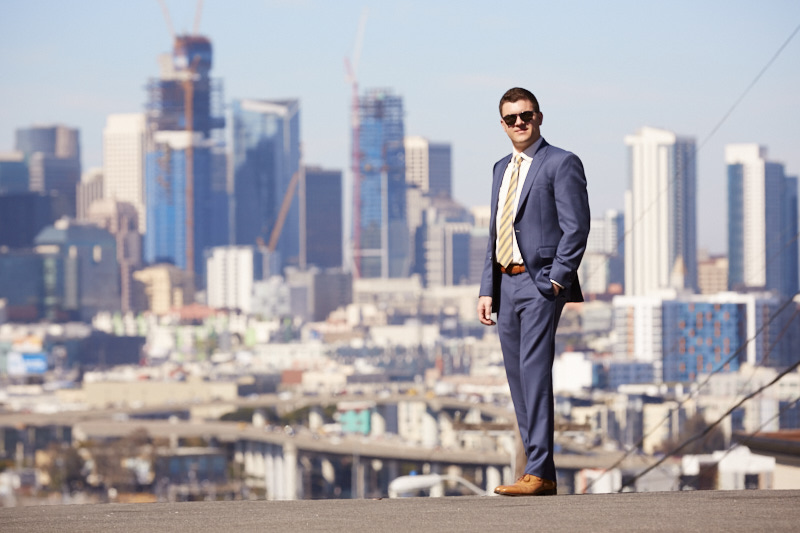 The groom looking very GQ against the SF skyline