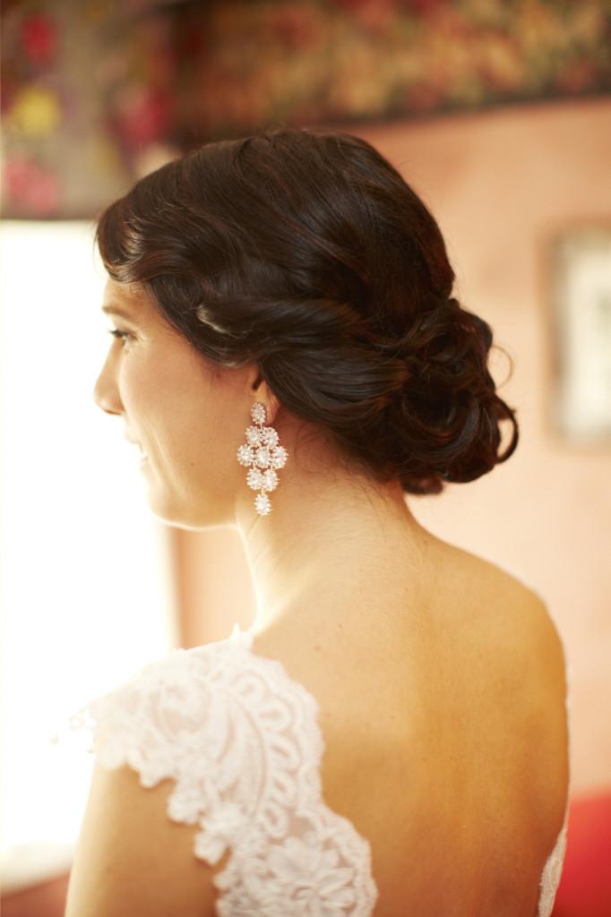 Hair and earrings.