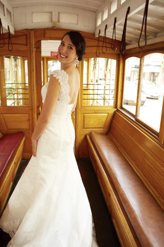 On the trolley car.