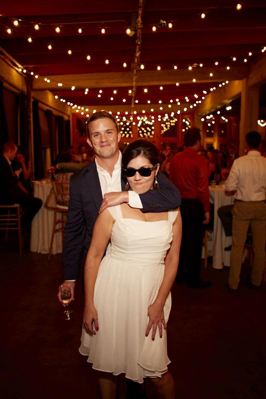 Bridesmaid wearing shades