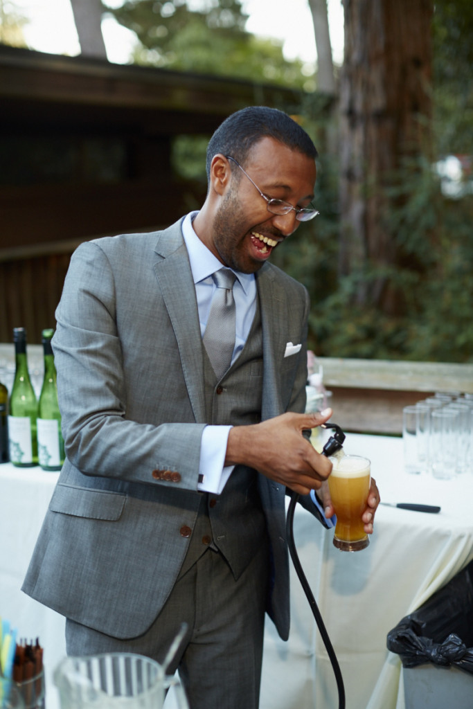 The Groom Pours Himself a Beer