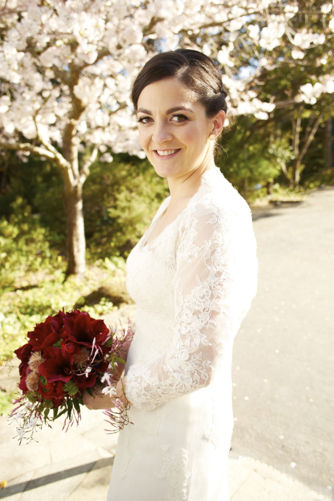 The bride under a blooming tree
