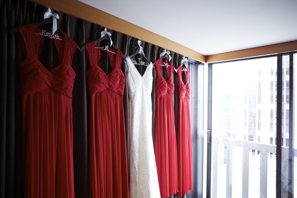 Wedding dress with the bridesmaids dress