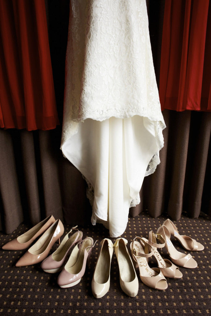 The bride and bridesmaid's shoes