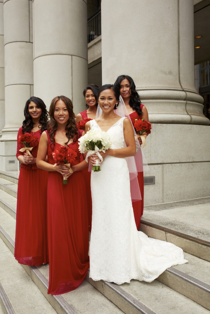 The bridal party on the steps of the Bentley Reserve