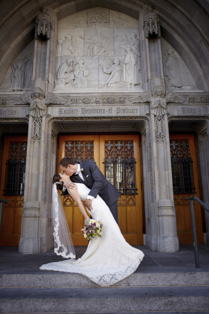 A kiss in front of the church