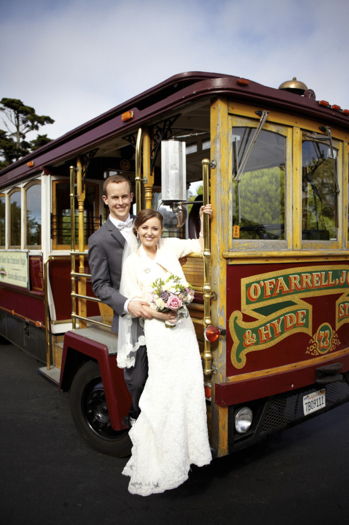 The wedding couple on the trolley bus