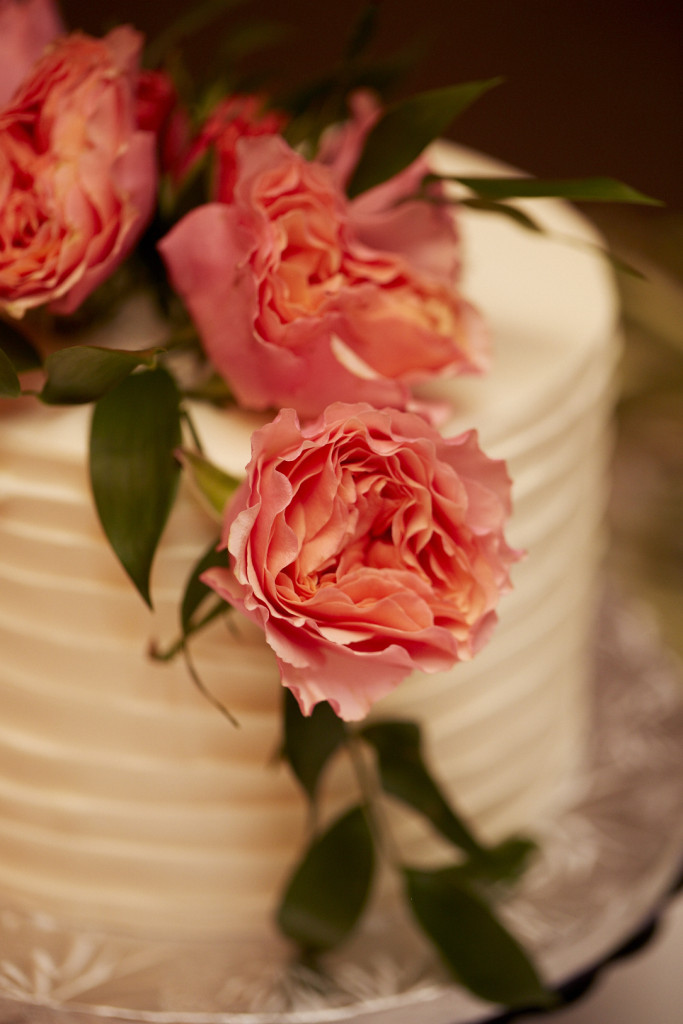 Detail of Cake with Pink Flowers