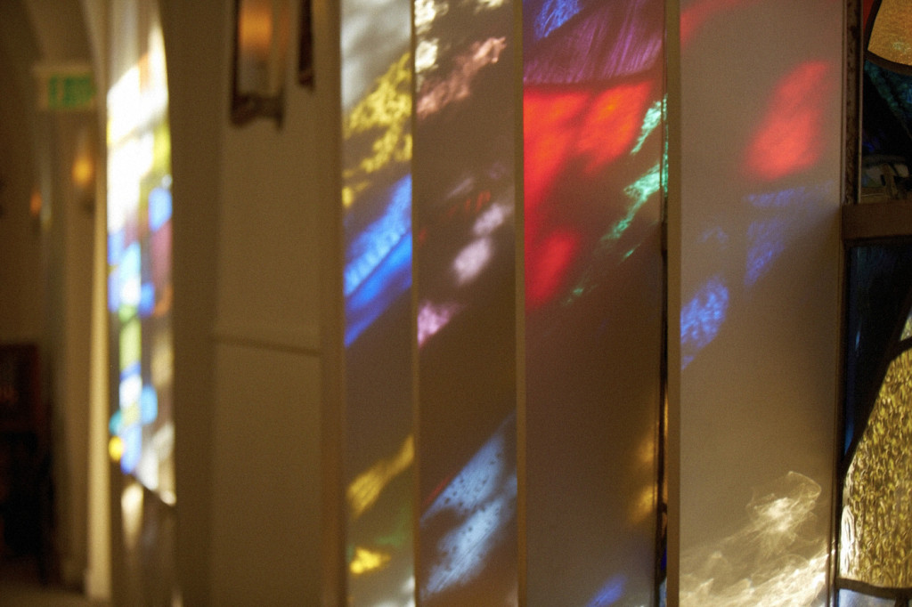 Light coming rhough the stained glass windows