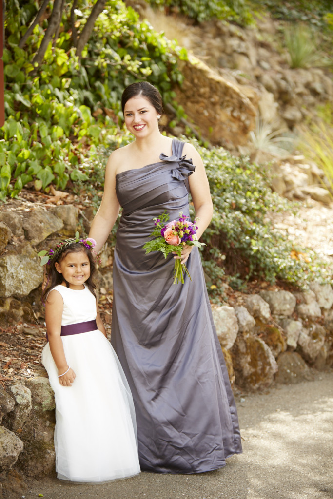 Bridesmaid and her daughter, the flower girls