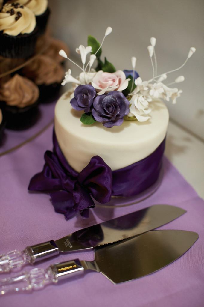 Wedding Cake with Purple Ribbon