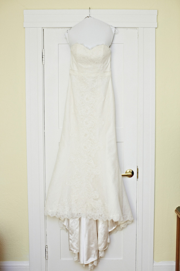 Strapless A-Line Lace Wedding Dress with Train