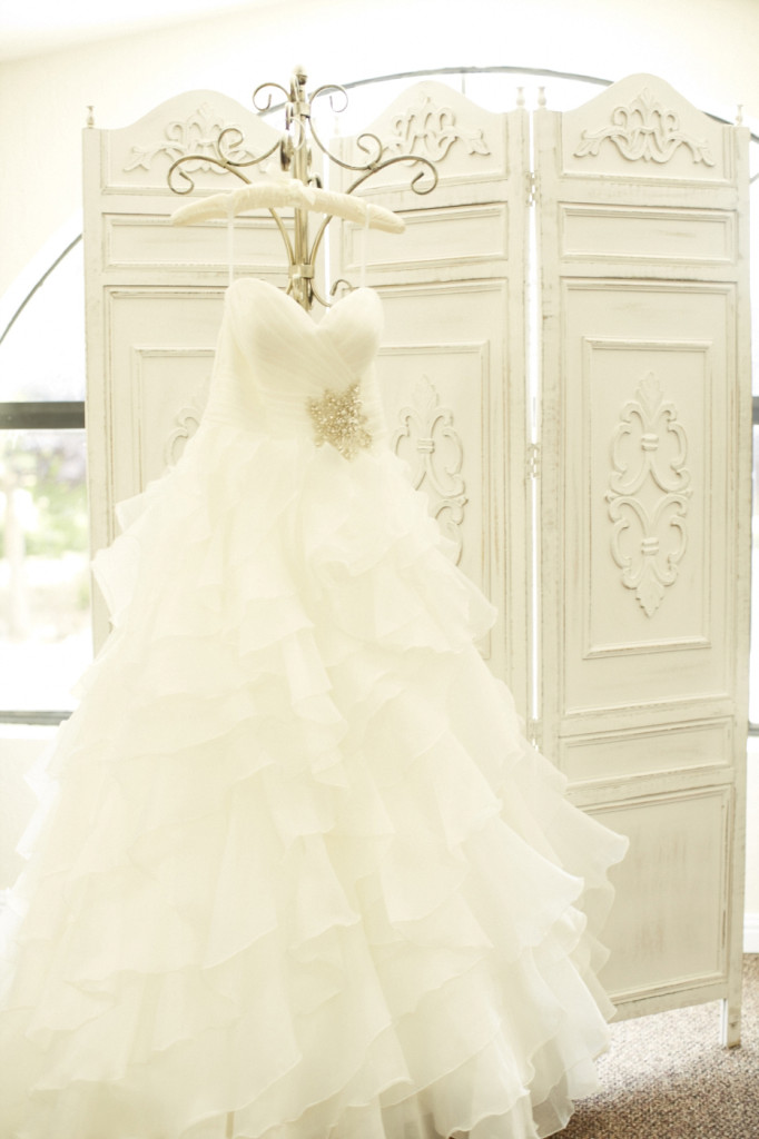 Strapless Layered Tulle Wedding Dress with a gathered seethear bodice