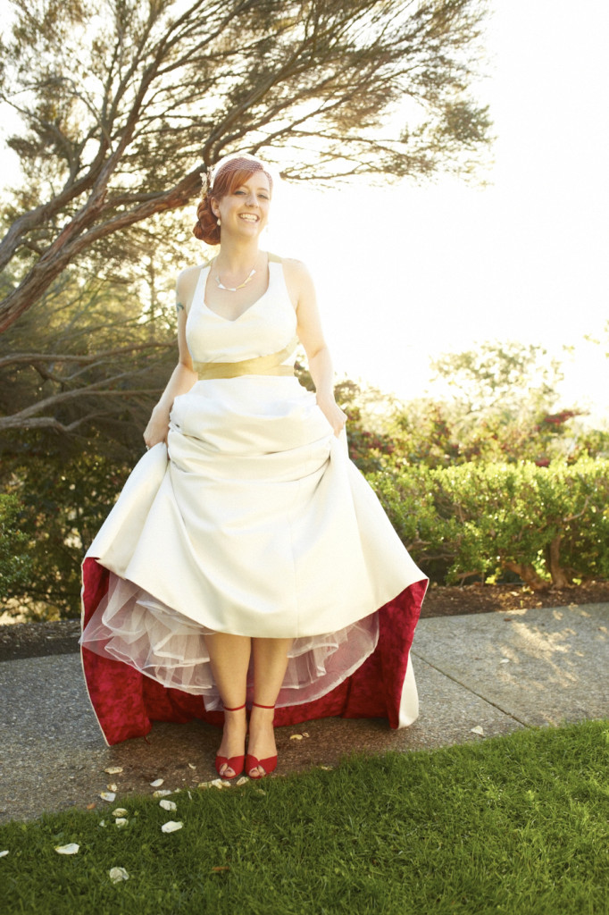 Halter Wedding Gown with Red Lining